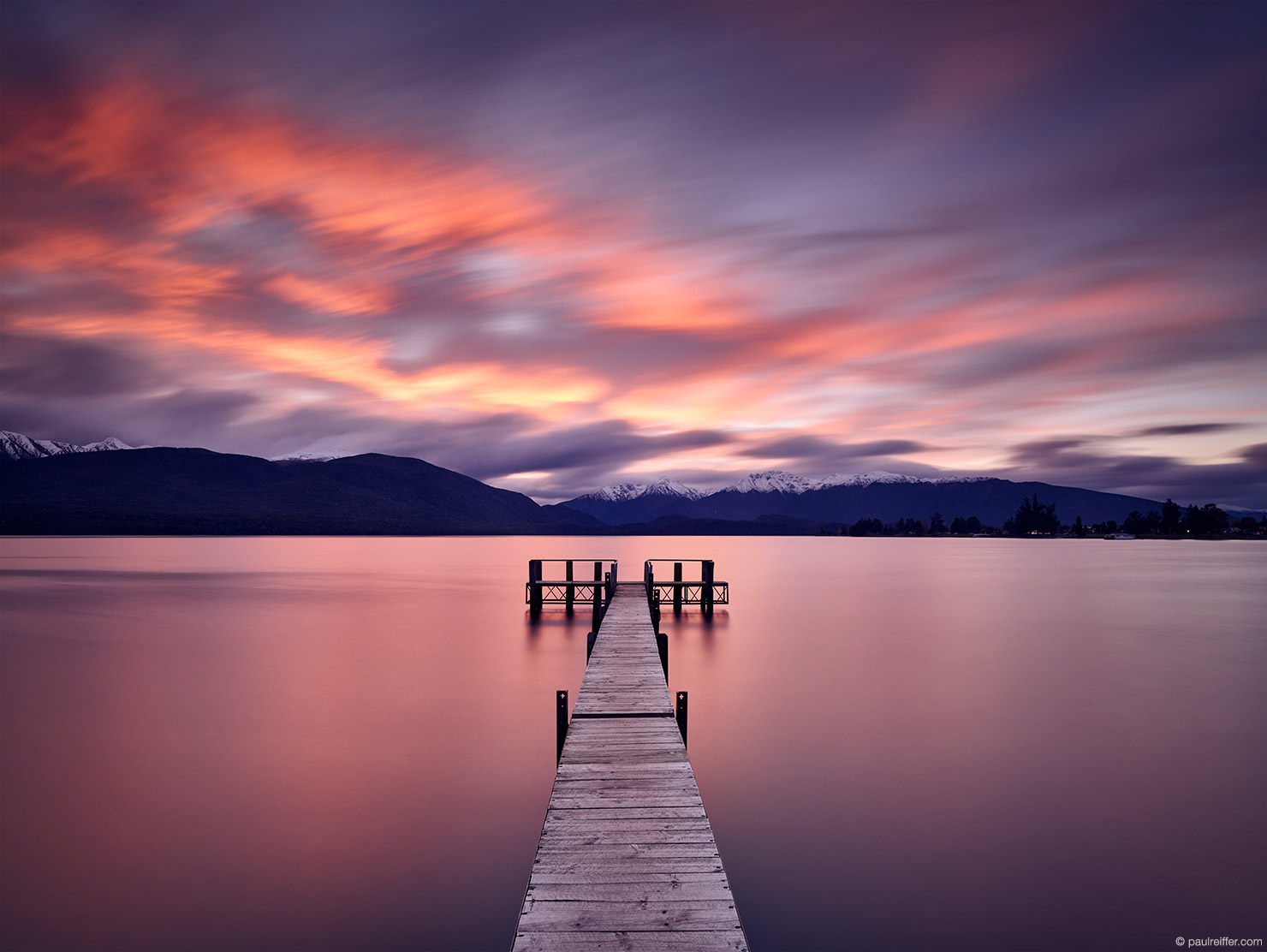 Restless Lake Te Anau TeAnau Jetty Sailing Rowing Club Long Exposure Fiordland National Park New Zealand Paul Reiffer Professional Photographer Sunset