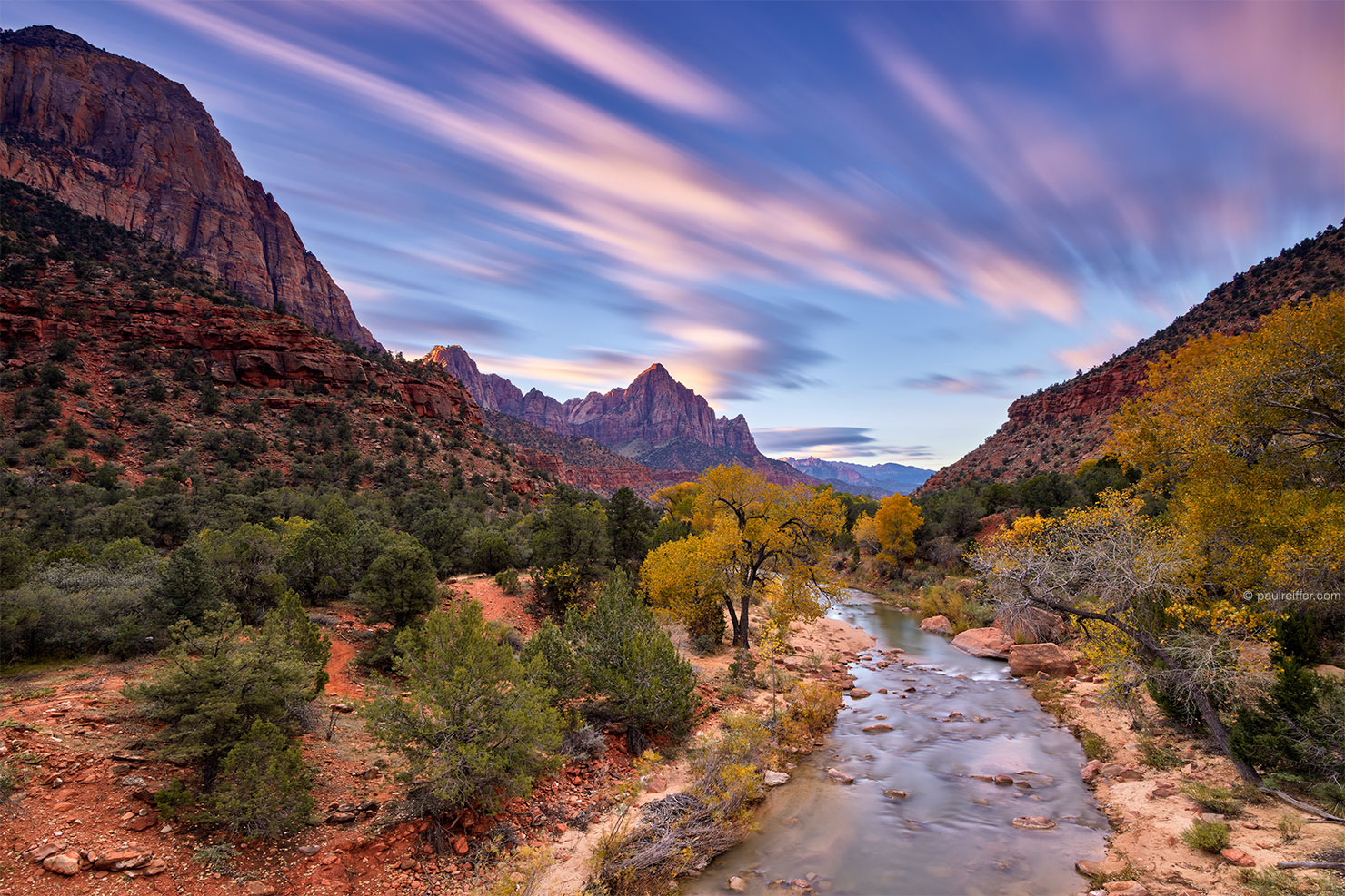 zion first light paul reiffer national park utah sunrise fall autimn virgin river the watchmen sky long exposure ultimate photography professional landscape