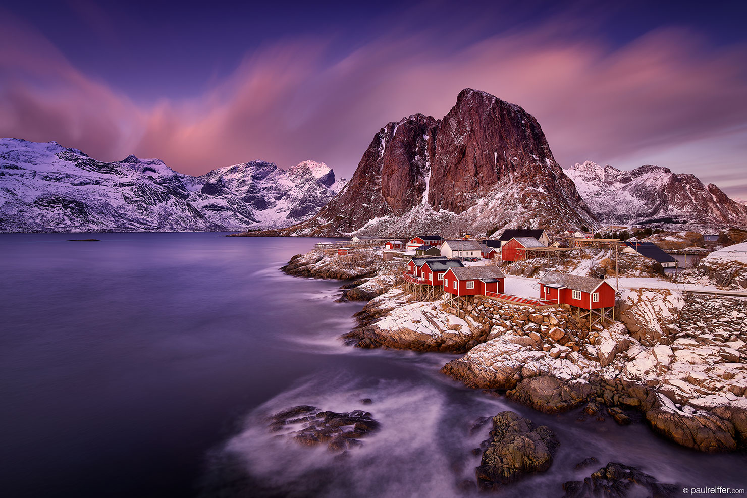 Lofoten Fishermans Cottages Hamnoy Red Sunrise Glow Sky Paul Reiffer Photographer Workshop Photography Luxury Bespoke Private Norway