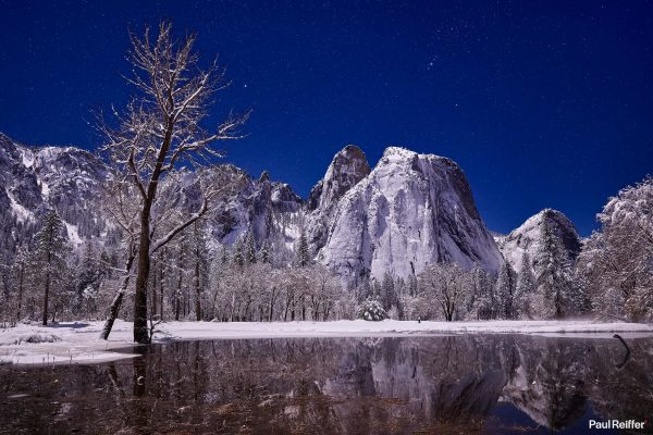 Blog Header Yosemite Cathedral Rocks Night Stars Galaxy Snow Winter Lake Reflection Ice Cold Mountains Paul Reiffer Photographer Phase One Medium Format IQ4