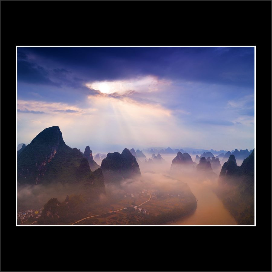 product picture Portal Guilin Mountains China Countryside Sunrise Li Xi River buy limited edition print paul reiffer photograph photography